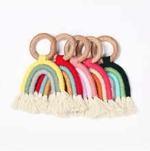 Load image into Gallery viewer, Wooden Macrame Rainbow Teether Toy | Bright