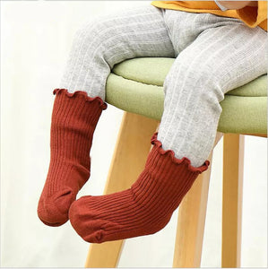 Ribbed Ruffle Trim Socks - Little Boo Store