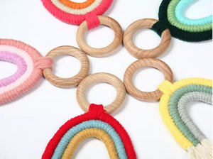 Wooden Macrame Rainbow Teether Toy | Bright