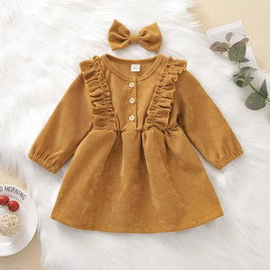 Corduroy Dress in Mustard