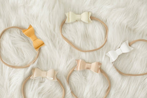 Leather Bow Headband In Gold - Little Boo Store