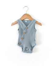 Load image into Gallery viewer, Ribbed Button Bodysuit - Dusty Blue - Little Boo Store