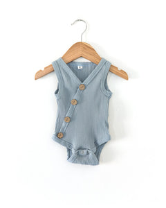 Ribbed Button Bodysuit - Dusty Blue - Little Boo Store