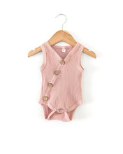 Load image into Gallery viewer, Ribbed Button Bodysuit - Dusty Pink - Little Boo Store