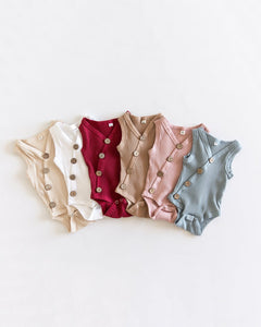 Ribbed Button Bodysuit - Dusty Pink - Little Boo Store