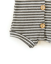 Load image into Gallery viewer, Frankie Romper in Charcoal + White Stripes