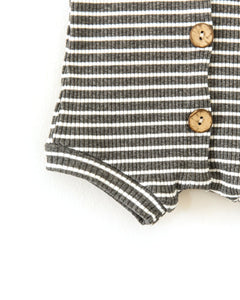Frankie Romper in Charcoal + White Stripes