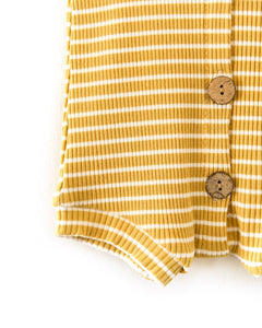 Frankie Romper in Mustard + White Stripes