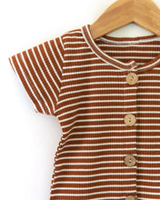 Load image into Gallery viewer, Frankie Romper in Brown + White Stripes