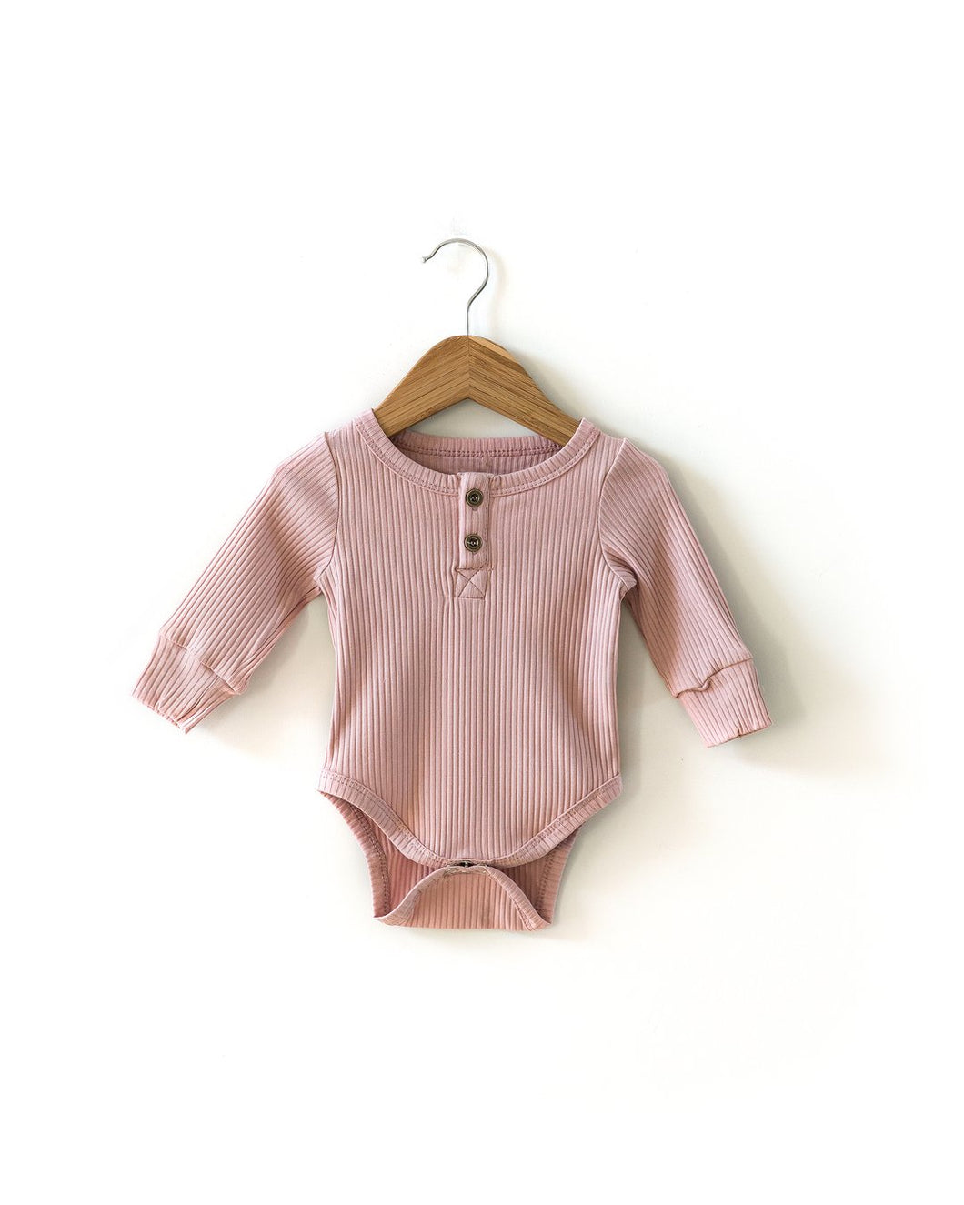 Ribbed Long-Sleeved Bodysuit in Dusty Pink - Little Boo Store