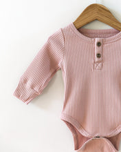 Load image into Gallery viewer, Ribbed Long-Sleeved Bodysuit in Dusty Pink - Little Boo Store