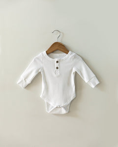 Ribbed Long-Sleeved Bodysuit in White - Little Boo Store