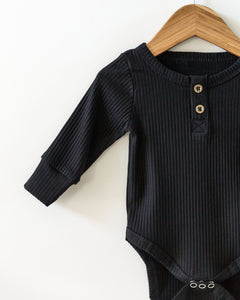 Ribbed Long-Sleeved Bodysuit in Black - Little Boo Store