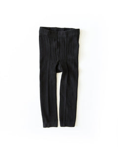 Ribbed Knit Tights - Black - Little Boo Store