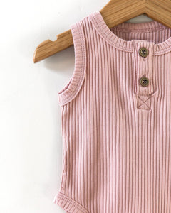 Ribbed Sleeveless Bodysuit - Dusty Pink