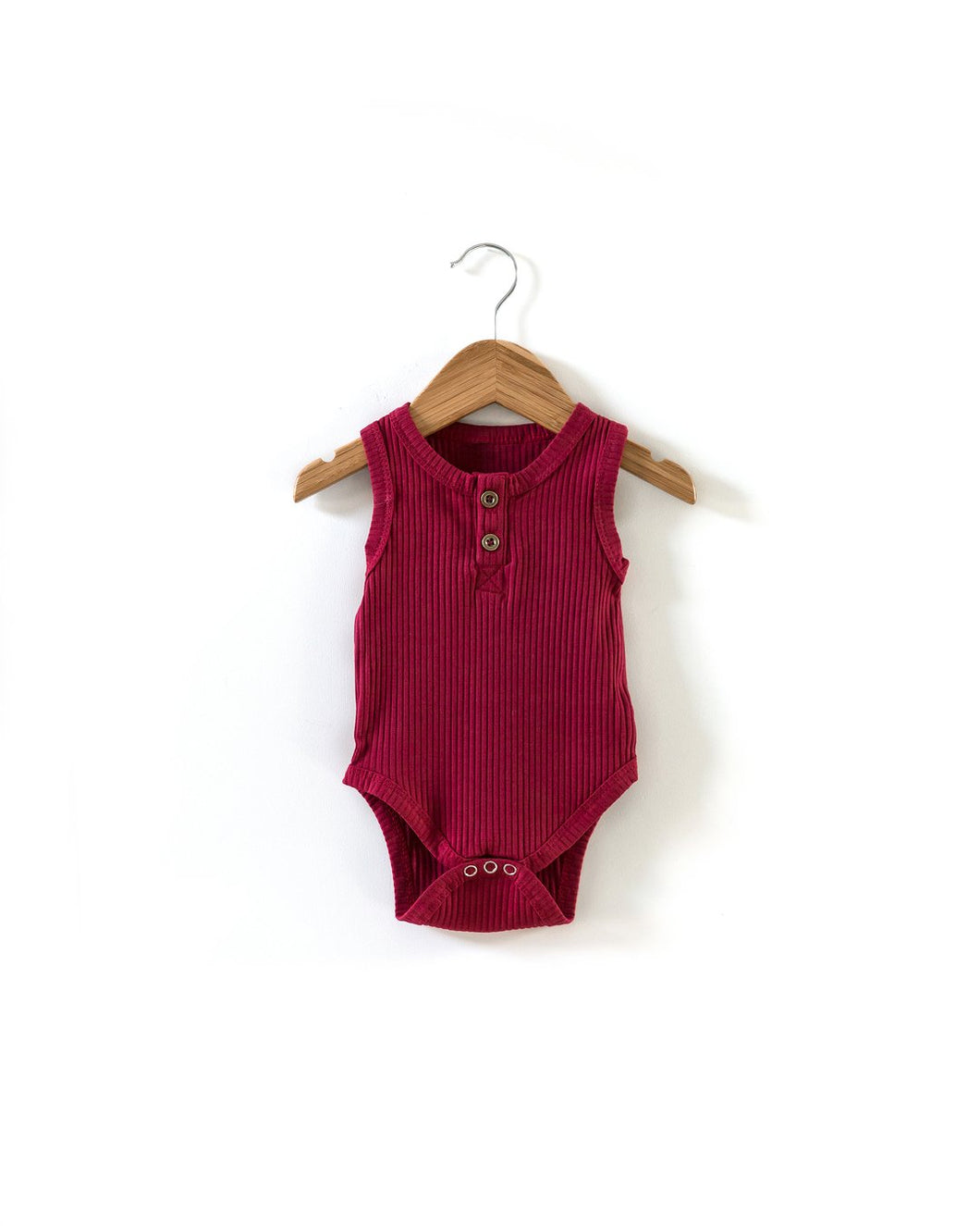 Ribbed Sleeveless Bodysuit - Red