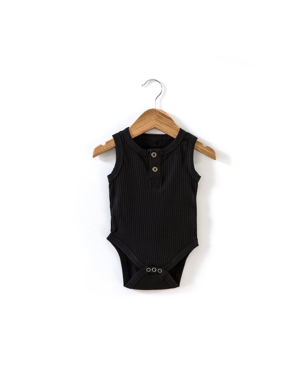 Ribbed Sleeveless Bodysuit - Black