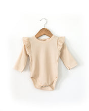 Load image into Gallery viewer, Ruffle Long-Sleeved Bodysuit in Oatmeal - Little Boo Store