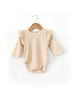 Ruffle Long-Sleeved Bodysuit in Oatmeal - Little Boo Store