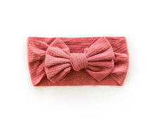 Load image into Gallery viewer, Ribbed Bow Headband - Raspberry - Little Boo Store