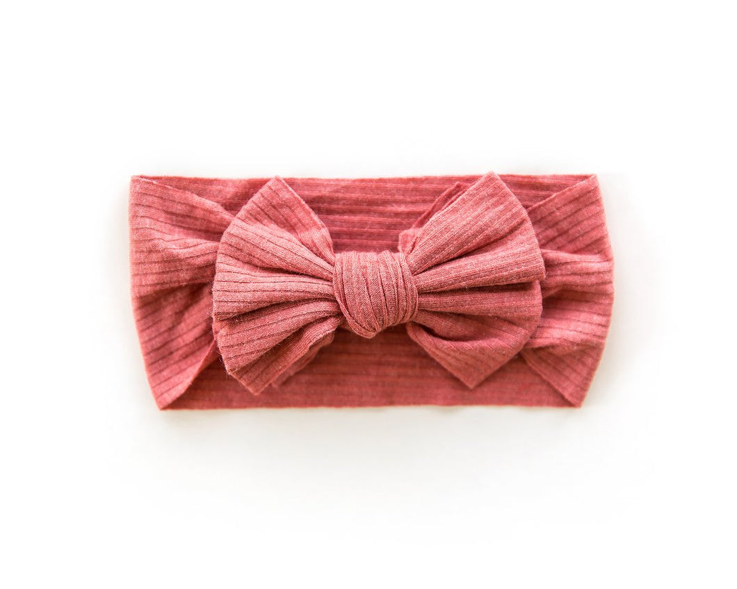 Ribbed Bow Headband - Raspberry - Little Boo Store
