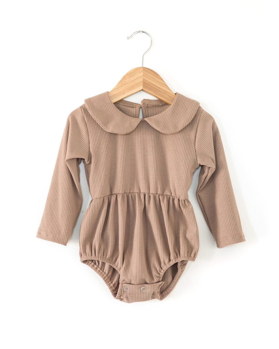 Janey Ribbed Romper - Camel - Little Boo Store