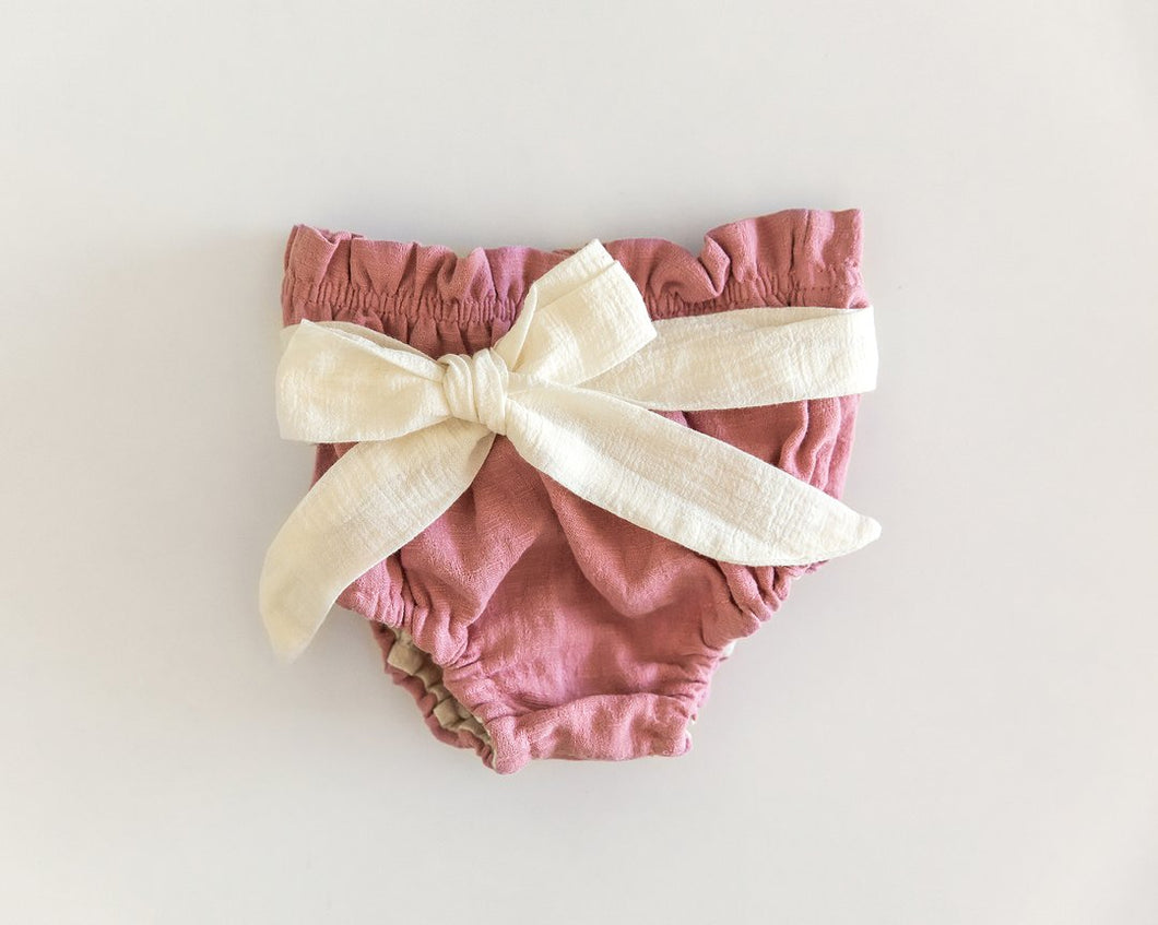 Ivory Bow Bloomers in Pink