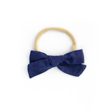 LINEN BOW HEADBAND - NAVY