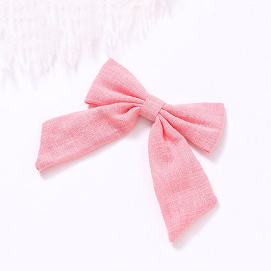Cotton Linen Bow Clip - Cotton Candy - Little Boo Store