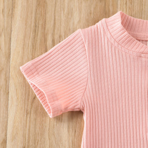 Minimalist Ribbed Outfit - Pink