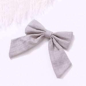 Cotton Linen Bow Clip - Grey - Little Boo Store