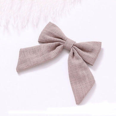 Cotton Linen Bow Clip - Latte - Little Boo Store