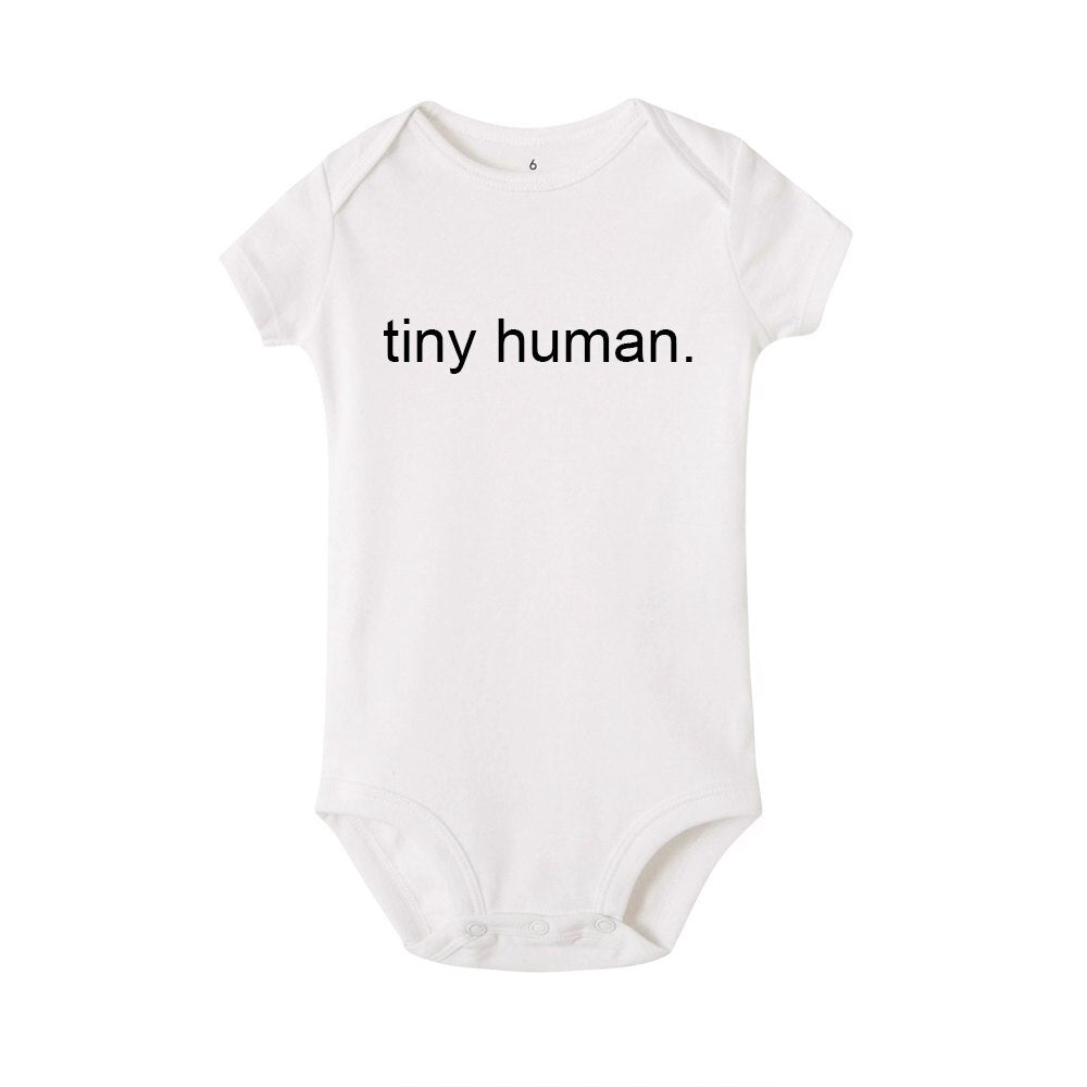 'tiny human.' Bodysuit - White - Little Boo Store