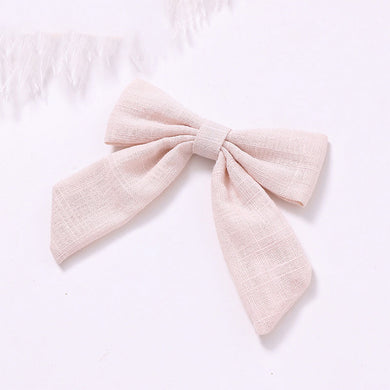 Cotton Linen Bow Clip - Cream - Little Boo Store
