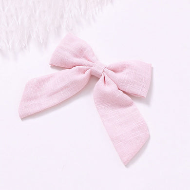 Cotton Linen Bow Clip - Pastel Pink - Little Boo Store