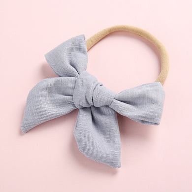 LINEN BOW HEADBAND - POWDER BLUE - Little Boo Store