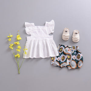 Flower Shorties - Green - Little Boo Store
