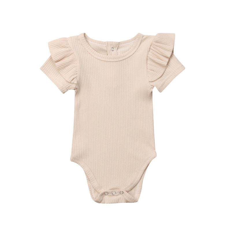 Flutter Short Sleeve Bodysuit - Oatmeal