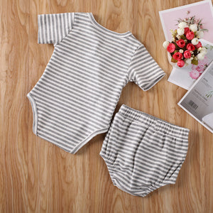 Striped Ribbed Basic Button Set - Little Boo Store