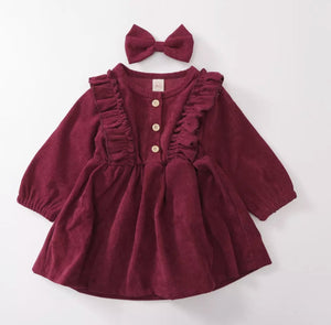 Corduroy Dress in Maroon