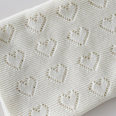 Cream | Hearts Baby Blanket - Little Boo Store