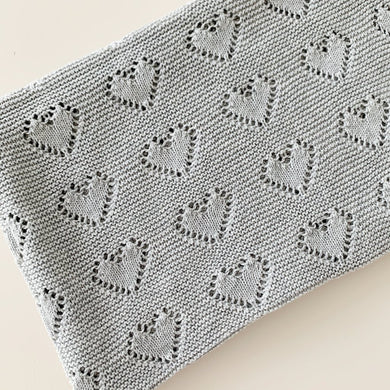 Grey | Hearts Baby Blanket - Little Boo Store