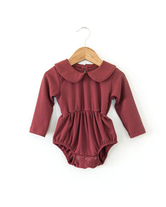 Janey Ribbed Romper - Red - Little Boo Store