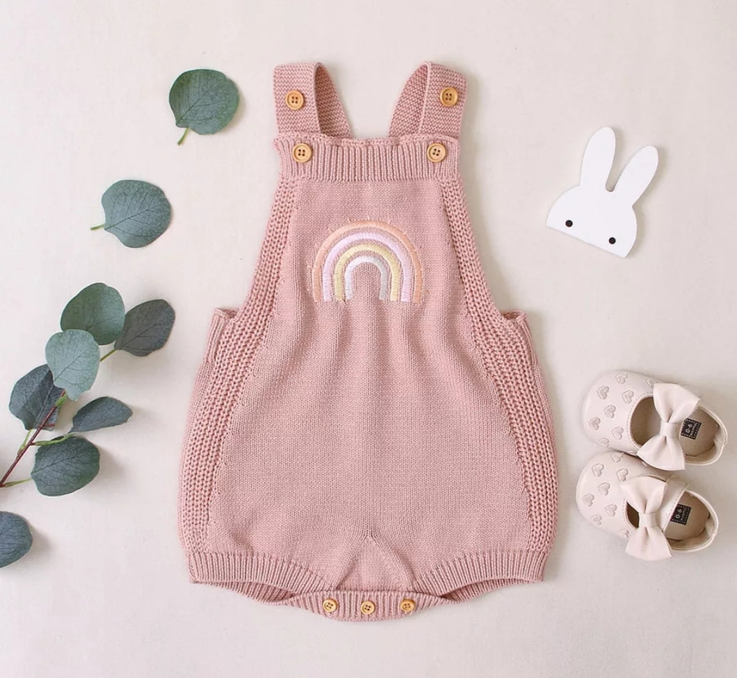 Rainbow Knit Romper - Pink - Little Boo Store