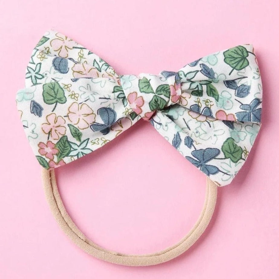 FLORAL BOW HEADBAND - Green - Little Boo Store