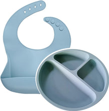 Load image into Gallery viewer, Silicone Feed Time - Bib + Plate Set - Little Boo Store