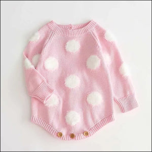 Mad about Spots Knit Romper - Pink - Little Boo Store