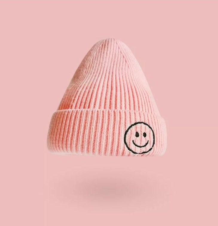 Smiley Face Beanie | Pink