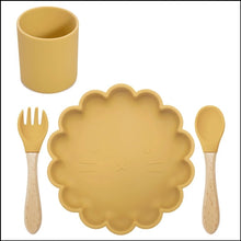 Load image into Gallery viewer, Silicone Lion Meal Time Set | Mustard