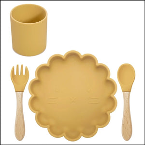 Silicone Lion Meal Time Set | Mustard